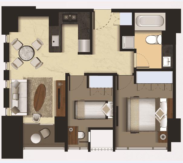 Denah Tipe 2 Bedroom