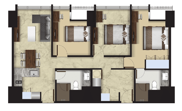 Denah Tipe New 3 Bedroom